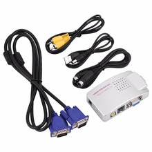 Universal PC Converter Box VGA to TV AV RCA Signal Adapter Converter Video Switch Box Composite Supports NTSC PAL