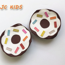 JC KIDS Handmade Sweet Chocolate Donuts Bag For Kids Girls Gift Bag Cute Fashion PU Donuts Coin Purse Mini Messenger Bag For Kid
