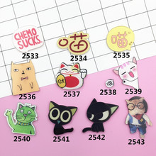 Min Order $5(Mix Order) Cartoon Cat Hand Meow Star people Cute Delicate Acrylic Costumes Badge Pins Button Gift Wholesale XZ140