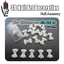 Nail 10pcs/Lot 3D Nail Art Glitter Clear Rhinestone Alloy Big Size Bow Design Nail Art Products Decorations Accessory(China)