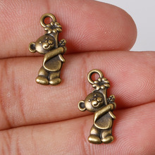 Fashion Sale 11pcs/lot 19*10mm Antique Bronze Plated Charms Bear Pendants Zinc Alloy Charms Jewelry Findings Fit DIY