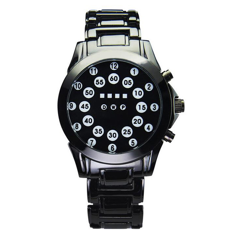 Men Lava Ball Dial Watch Full Alloy Strap LED Electronic Movement Bracelet Wristwatch Man Sports Watches<br>