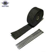 5m  Black Motorcycle Thermal Exhaust Tape Thermo Exhaust Wrap Protective Fireproof Insulating Cloth With Locking Ties