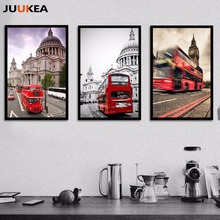 5Pcs London Classic London Bus Visual Image Photography Art Canvas Print Painting Poster Wall Picture For Living Room Home Decor