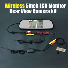 Review Wireless 5inch Mirror LCD DVD Monitor System Car Rear View Backup Reversing Camera For TOYOTA RAV4 RAV 4 2013~2015