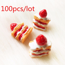 100pcs Wholesale Miniature Mille-feuille Artificial Cake Simulation Food Resin Strawberry Cakes Scrapbooking Decorative Crafts