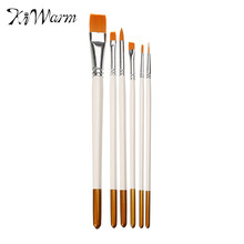 KiWarm 6pcs/lot High Quality White Nylon Wood Paint Brush Set Artists Acrylic Watercolor Painting Brush Round Flat Tip Drawing