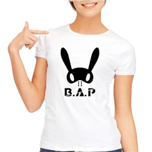 Fashion bap b.a.p memeber name and personal bunny image printing t shirt for womens summer short sleeve o neck t-shirt