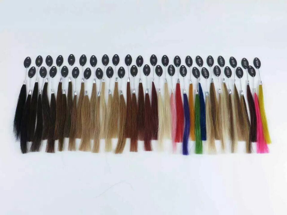 40 colors human hair color ring for all kinds of hair extensions color chart for tape, tip hair extensions(China)