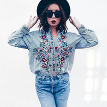 flower embroidery striped blouse oversized three quarter sleeve loose shirts turn down collar ladies tops blusas(China)