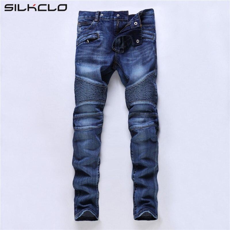 2017 Men Jeans Design Fashion Biker Runway Hiphop Slim Jeans For Men Cotton Good Quality Motorcycle Jeans Blue BlackОдежда и ак�е��уары<br><br><br>Aliexpress