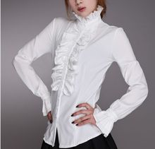 Women Lady Victorian OL Shirt Frilly Ruffle Tops Flounce Blouse Clothes Formal Work Party Long Sleeve White Black Shirts(China)