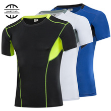YEL 2017 Tights Fitness Clothing Training Men's Sportswear Short Basketball Jersey Compression Running Wicking Gym Men T-Shirts