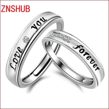 2017 New fashion 925 sterling silver couple rings love you forever ring opening adjustable fine jewelry wholesale 1pair =2pcs