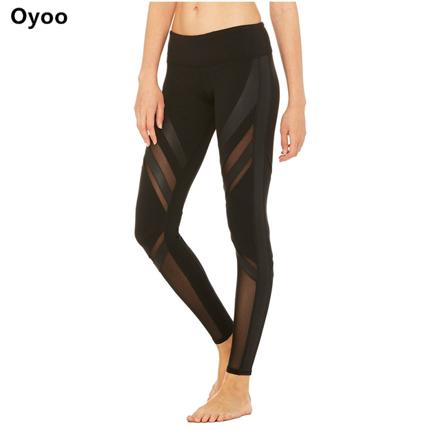 Oyoo Mesh Panels Yoga Pants Thick Fabric Sport Leggings Women Running Tights Compression Jogging Gym Legging