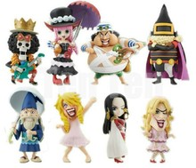 Free shipping 100% brand new Japana anime 5set (8pcs/set) one piece Boa Hancock Usopp Brook party pvc figure toys tall 8cm set.