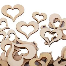 100 Pcs/Set 10MM-50MM Blank Hollow Wooden Heart Embellishments Crafts Wedding Party Christmas Decoration Wholesale