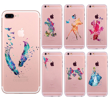 Watercolor Feather Bird Case for iphone 6 6s 5 5s SE 7 plus Art Snow White Coque Mermaid Soft TPU Silicone Fundas Cheap Cover