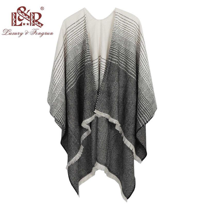 De moda de robó Cachemira Poncho envuelve Pashmina mujer bufanda de invierno  rayas borla suéter cálido 930d8a7d449