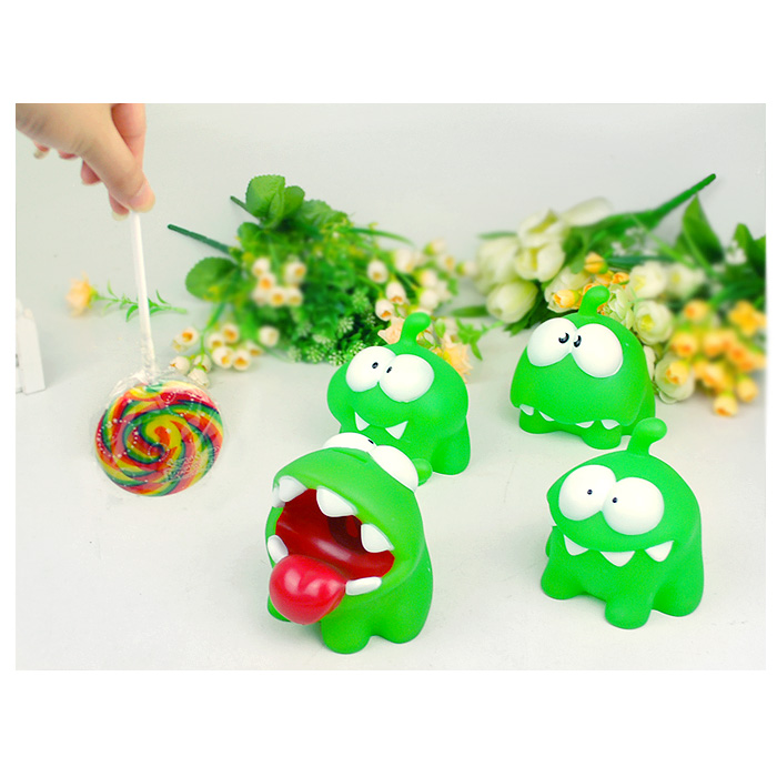 android games doll Cut the Rope OM NOM Candy Gulping Monster Toy Figure Phone Game rattle rubber light<br><br>Aliexpress