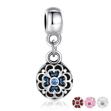 BISAER Silver Plated Round Flower Charm Pendant Beads Bracelet Original Accessories Blue Enamel Beads Jewelry Making GO5276