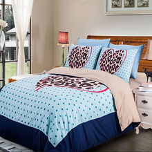 light blue polka dot brown leopard skin printed bedding sets twin full queen king size bed linens quilt duvet covers 4-5 pieces(China)