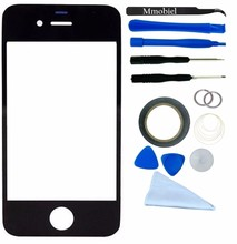 For Apple iPhone 4 4G 4S Black Display Touchscreen replacement kit 12 pieces incl tools / pre cut Sticker MMOBIEL