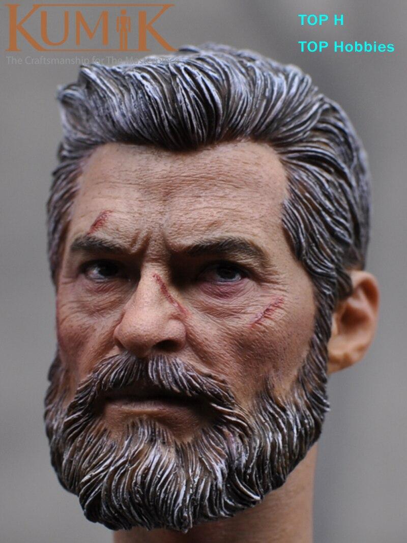 MAK Custom 1/6 Scale Hugh Jackman Head Sculpt 16-55 Injury version Wolverine Male Headplay Model fit 12 Kumik Ph Body Figure<br>