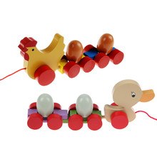 Baby  Wooden Educational Toys Toddler Chick  Duck Pull Carts Early Learning Toys Children Gifts