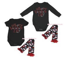 Happy Valentine Day Black Baby Girls Romper Jumpsuit Leg Warmer NB-18M(Hong Kong)