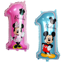 1pc Mickey Minnie Number 1 Foil Balloons Baby Boy Girls 1st Happy Birthday party Helium Decor Blue Pink Numbers one Toys 29inch