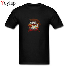 White Maneki Neko Japan Chic Company Men T Shirt Round Collar Summer Autumn Short Sleeve 100% Cotton Tops & Tees(China)
