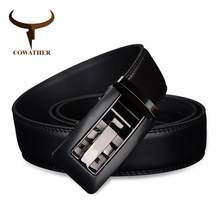 COWATHER 2017 Automatic Buckle cow Genuine Leather men Belts strap for male Fashion casual Brand cinto masculino CZ024(China)