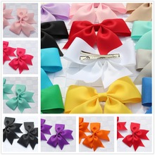 2pcs boutique solid girls children stain hair clip bows ribbon flower hairband hairpins baby hair barrettes accessories headwear(China)