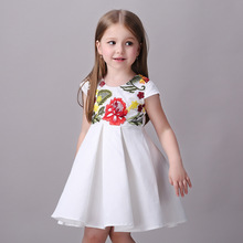 2016 Brand fashion Girls Dress girl Flower Embroidered princess Party Dress Baby girl Bridesmaid Wedding Bridal dress Costumes