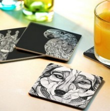 Free shipping Creative wood Coasters Cup Cushion Holder Non-slip heat proof coffee Coasters Cup Mat DIY hand painted,10pcs/lot