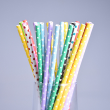 25pcs/lot Christmas Colorful Dot Paper Drinking Straws Mix Colors Paper Straws Prom Kids Birthday Wedding Decor Chirstmas Straws(China)