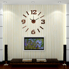 New Arrival 10EW101 Fashion sticker EVA kitchen wall clock Wood colour large decorative 3d diy wall clock big