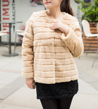 New Arrival Striped Rabbit Fur Coat Fashion Brand Fur Jacket hook front low low discount Free shipping TFP562