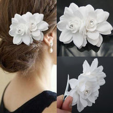 1PC Fashion Beautiful Summer Popular White Bridal Wedding Party Activities Orchid Flower Hair Clip Barrette Women Accessories(China)