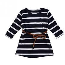 Long Sleeve Girls Black Striped Dress 2017 New Spring Fall Children Clothing Toddler Girl Clothes Kids T Shirt Dress with Belt
