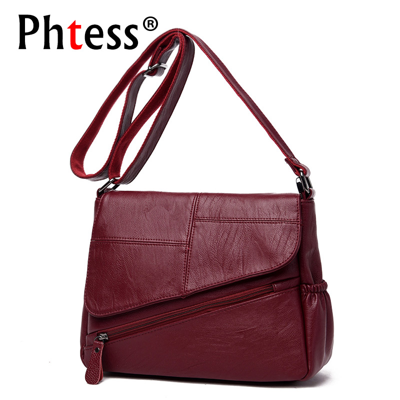 PHTESS New Female Messenger Bags Feminina Bolsa Leather Luxury Handbags Women Bags Designer 2017 Sac a Main Ladies Shoulder Bag<br>