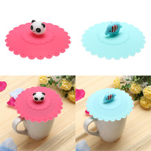 1pc Lovely Anti-dust Silicone Super Mary Cup Cover Leakproof Coffee Lid Cap Airtight Sealed Cup Cover Panda/Elephant Pattern
