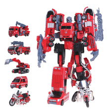 5 in 1 Combine Alloy mini size Transformation Robot Toy Devastator Engineering Action Figures Toy Heroes Rescue Truck Kids Toys(China)