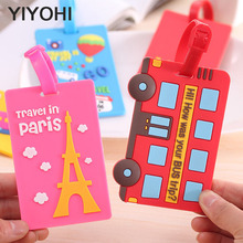 YIYOHI New Kawaii Suitcase Luggage Tag Cartoon ID Address Holder Baggage Label Silica Gel Identifier Travel Accessories