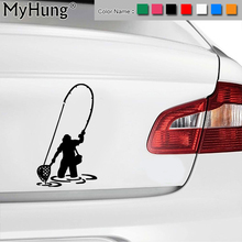 8.8*15.2CM New Vinyl Creative Man On A Fishing Trip Bike Sticker Dirt Bike Motorcycle Car Body Stickers Car Decals Car Styling(China)