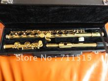 Students Childen Professional 16 Holes Closed Plus The E Key Flute Gold Plated White Copper Flute Musical Instruments With Case(China)