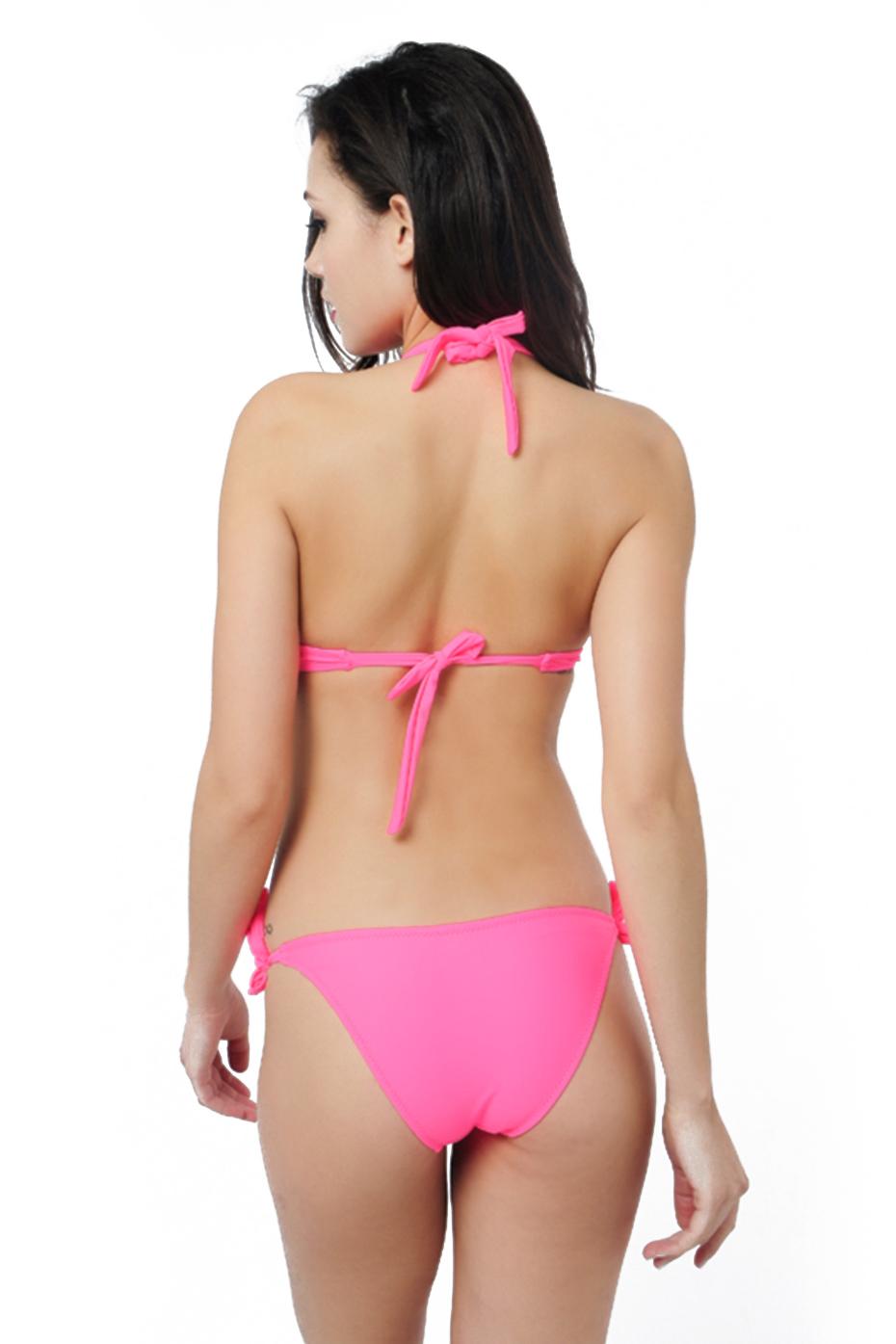 Faerdasi Halter Bikini Set Low Waist Bathing Suits Women Sexy Push Up Beachwear with Tie Side and Center Bow Swimwear Swimsuit 35