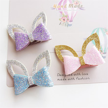 15pc/lot Glitter Artificial Leather Bow Rabbit Ear Hair Clips Light Pink Purple Bunny Ear Birthday Hairpin Party Animal Barrette
