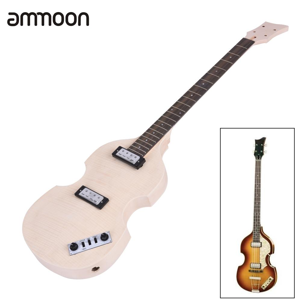 Unfinished DIY Electric Bass Guitar Kit High Quality Basswood Body Maple Neck Rosewood Fingerboard Electric Guitarra Kit(China (Mainland))